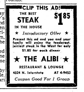 Alibi Steak Ad
