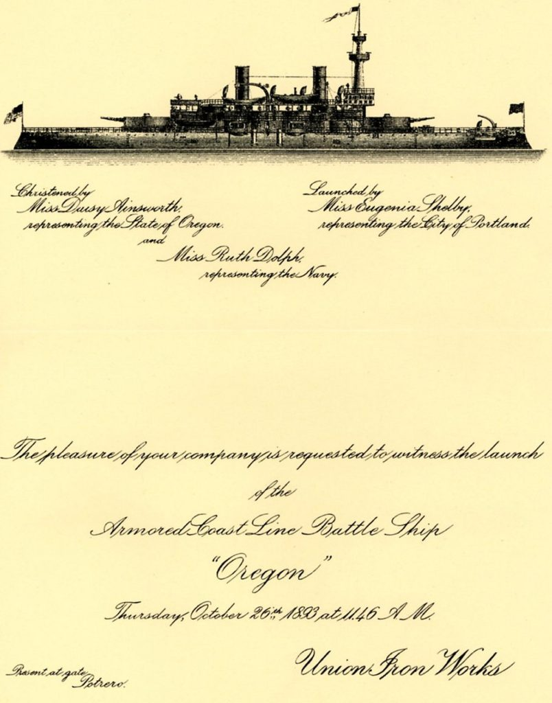 Battleship Oregon Invitation